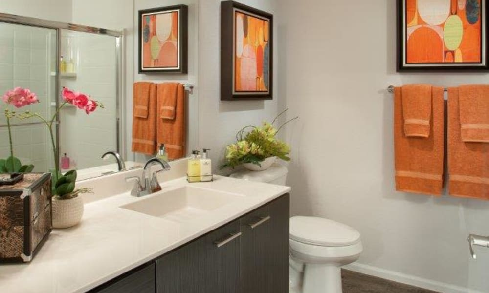 Quartz countertop in a model home's bathroom at Vive in Chandler, Arizona