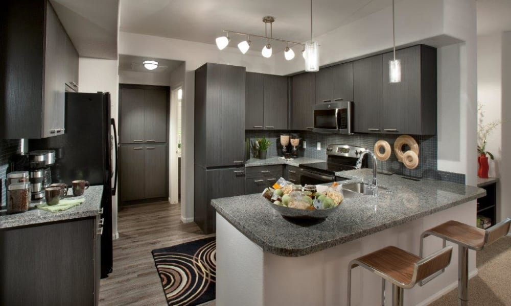 Model home's gourmet kitchen with stainless-steel appliances and granite countertops at Vive in Chandler, Arizona