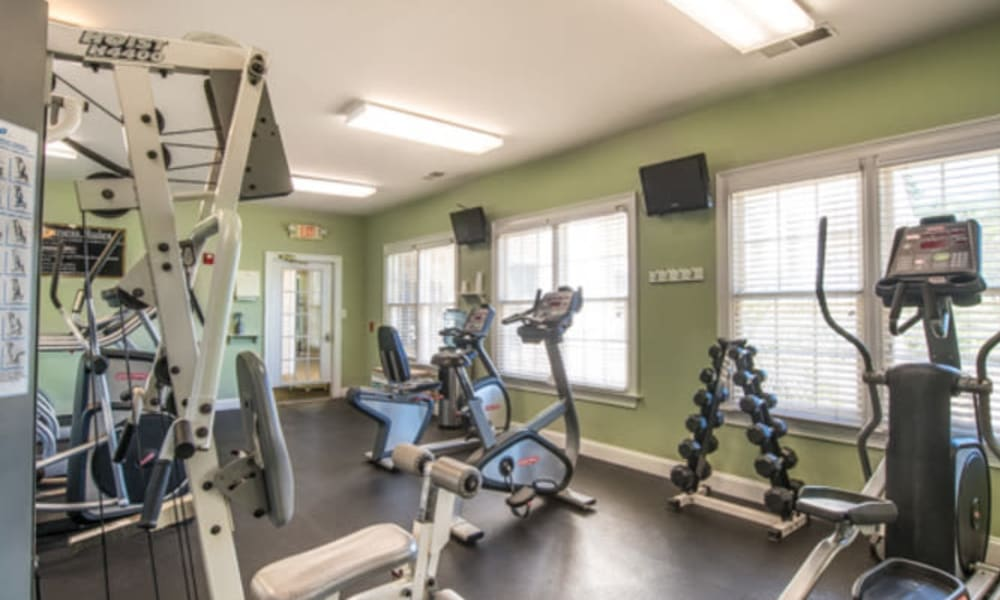 Well-equipped onsite fitness center at Walden at Chatham Center in Savannah, Georgia