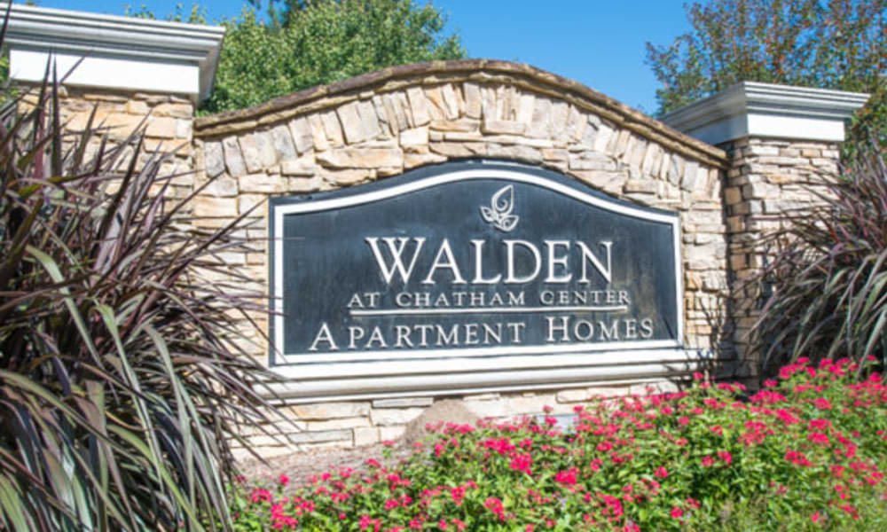 Our monument sign welcoming residents and guests to Walden at Chatham Center in Savannah, Georgia