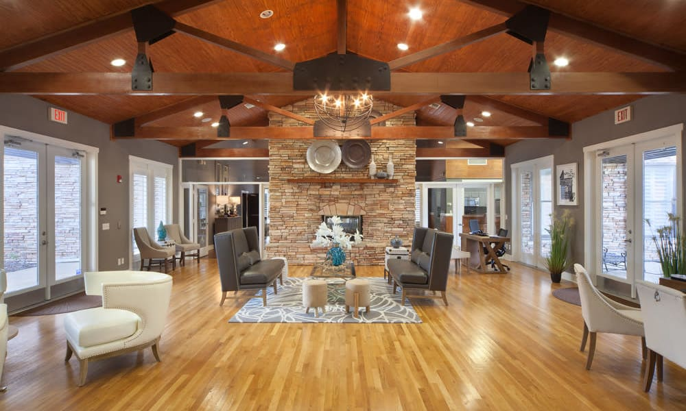 Lavishly decorated resident clubhouse at Wimberly at Deerwood in Jacksonville, Florida