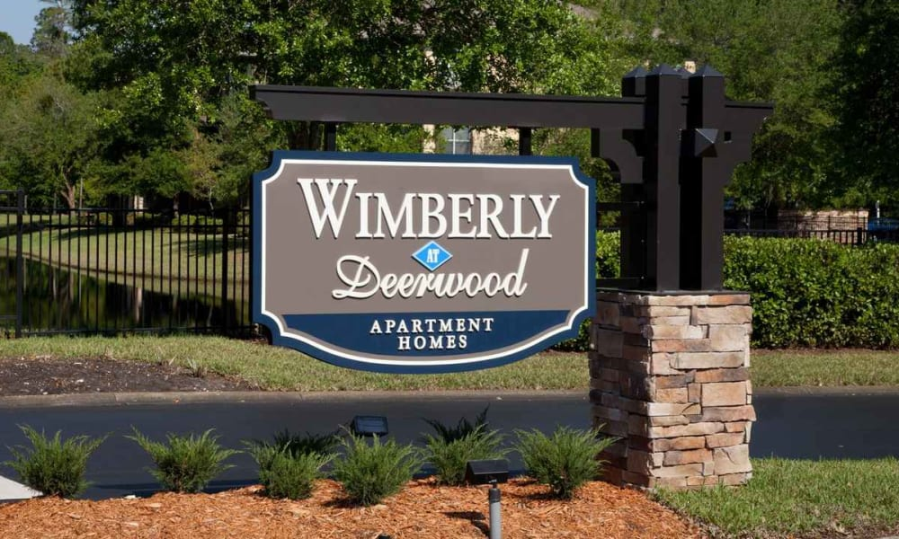 Our sign welcoming residents and their guests to Wimberly at Deerwood in Jacksonville, Florida