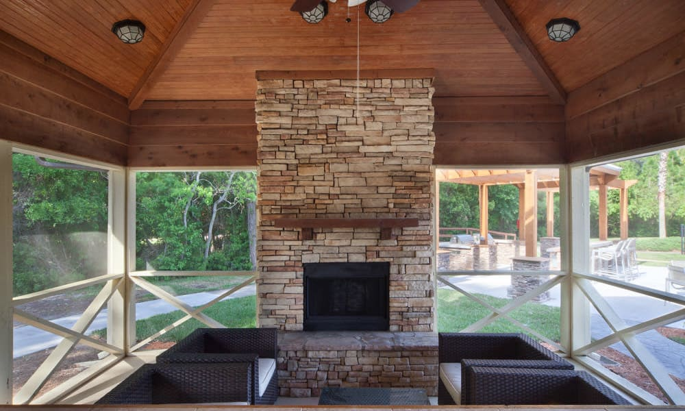 Fireplace in the barbecue area's gazebo at Wimberly at Deerwood in Jacksonville, Florida