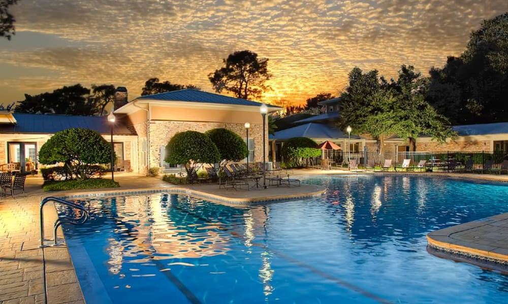 Beautiful sunset at the resort-style swimming pool at Wimberly at Deerwood in Jacksonville, Florida