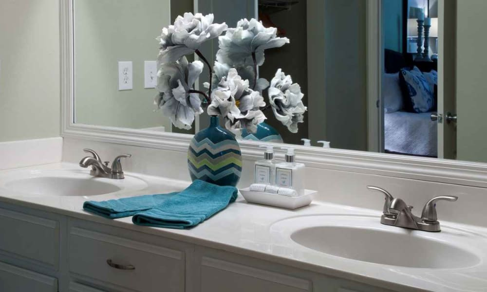 Dual sinks in a model home's master bedroom at Wimberly at Deerwood in Jacksonville, Florida