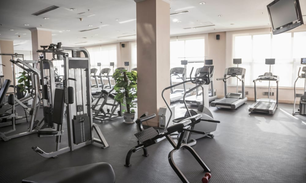 Onsite fitness center at Olympus Court Apartments in Bakersfield, California