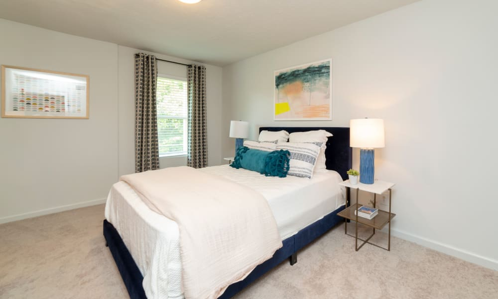 Bright bedroom at The Halsten in Atlanta, Georgia