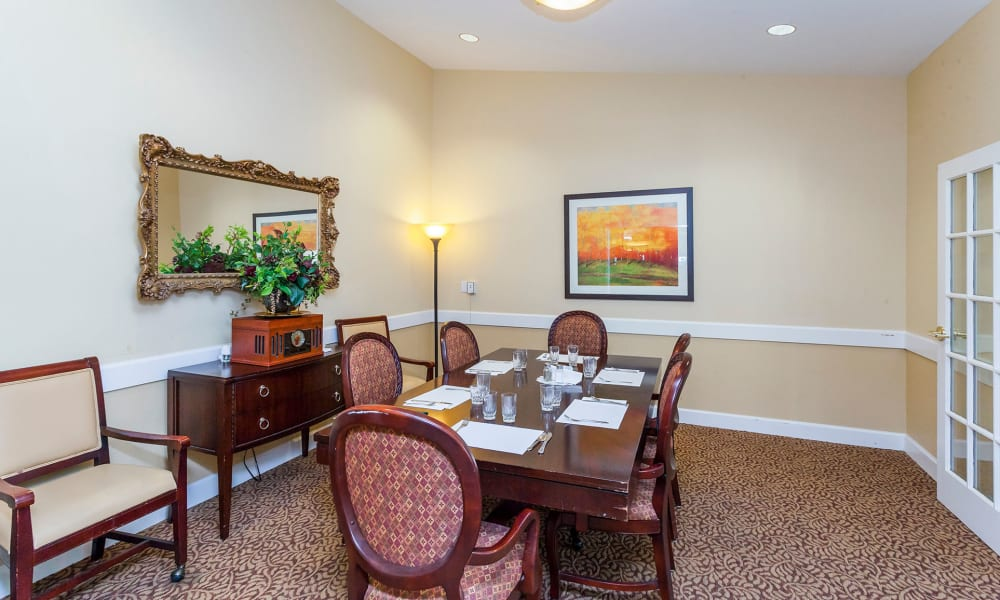 Private resident dining room at Lassen House Senior Living in Red Bluff, California