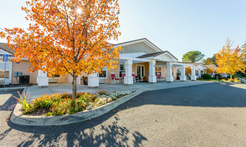 Building entrance at Lassen House Senior Living in Red Bluff, California