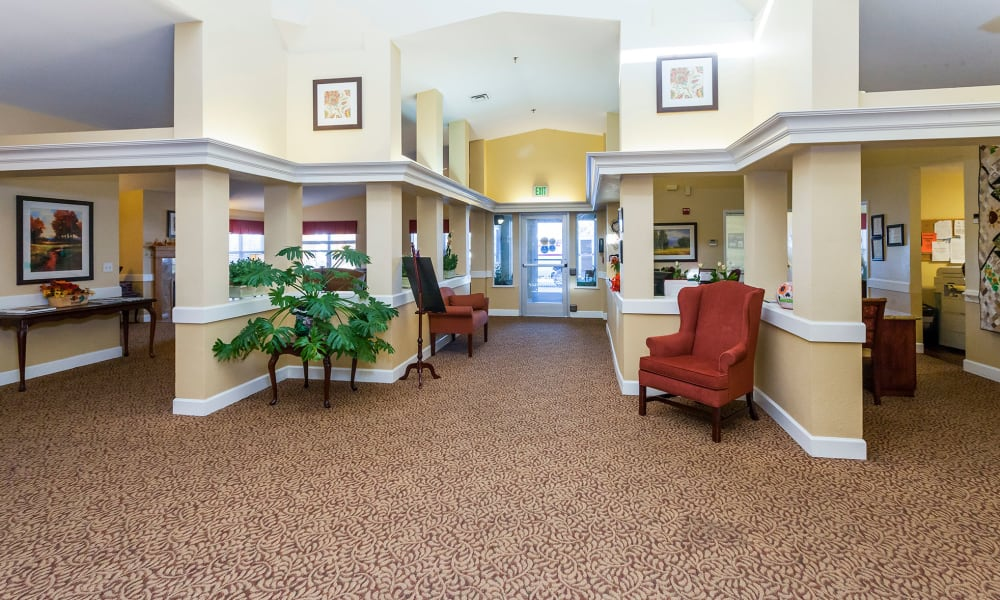 Entrance foyer at Lassen House Senior Living in Red Bluff, California