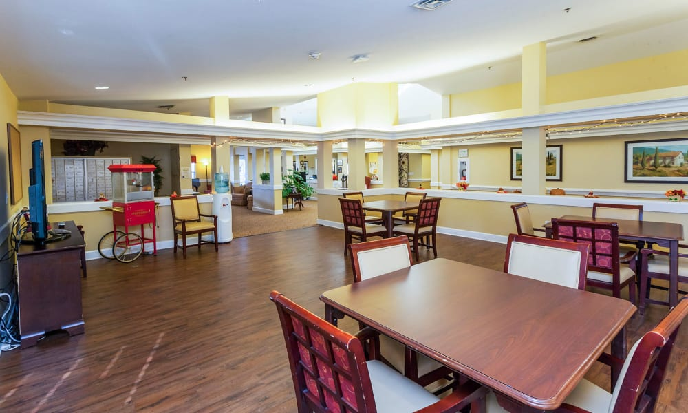 Large resident activity room at Lassen House Senior Living in Red Bluff, California