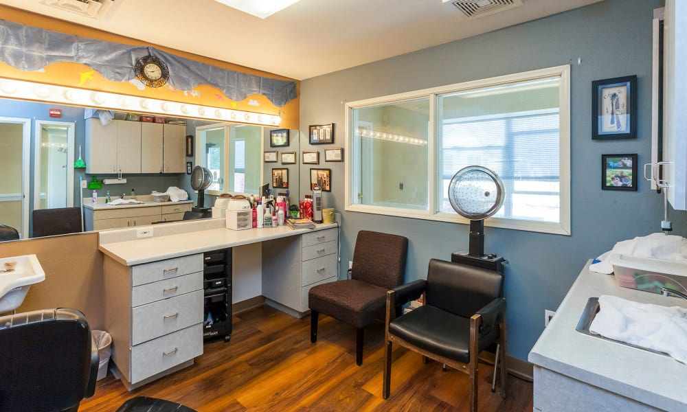 Onsite hair salon at Lassen House Senior Living in Red Bluff, California