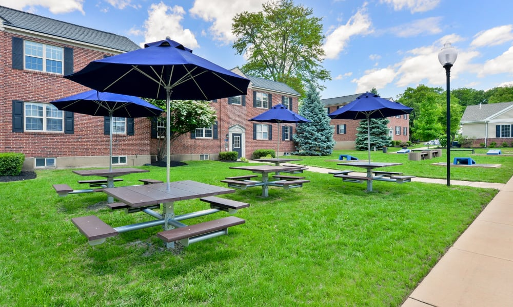 Covered outdoor seating at The Villas at Bryn Mawr Apartment Homes