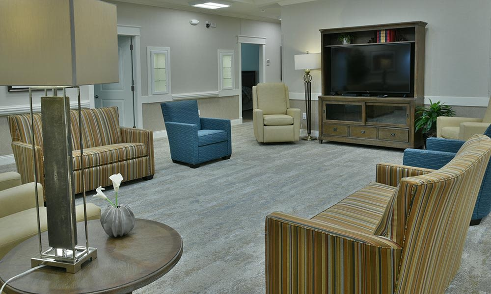 Living Room with Big Screen TV at The Arbors in Springfield, Tennessee