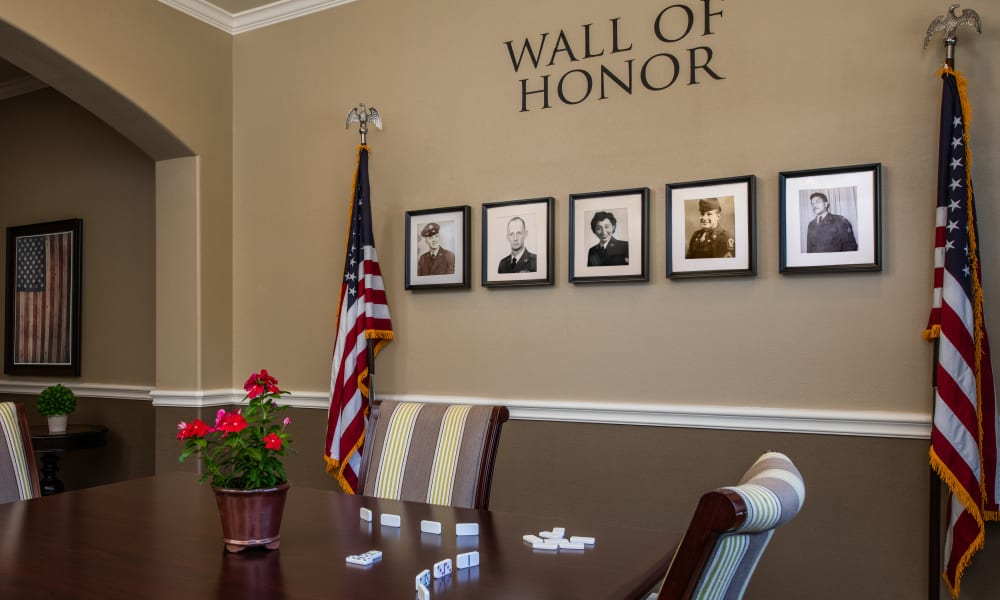 The Wall of Honor at Forest Creek Memory Care
