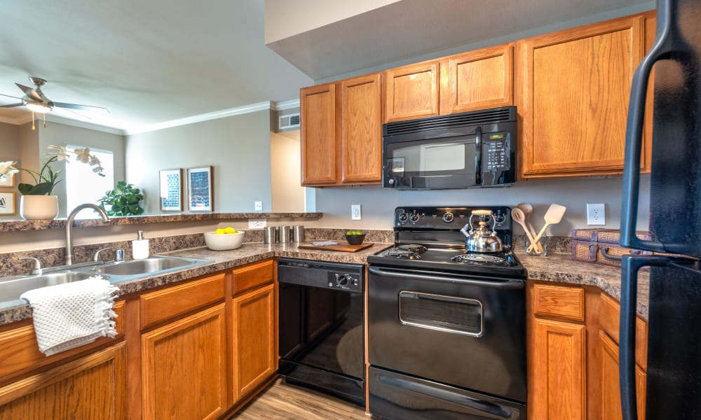 Modern Kitchen with ample storage and black appliances at Olympus Team Ranch in Benbrook, Texas