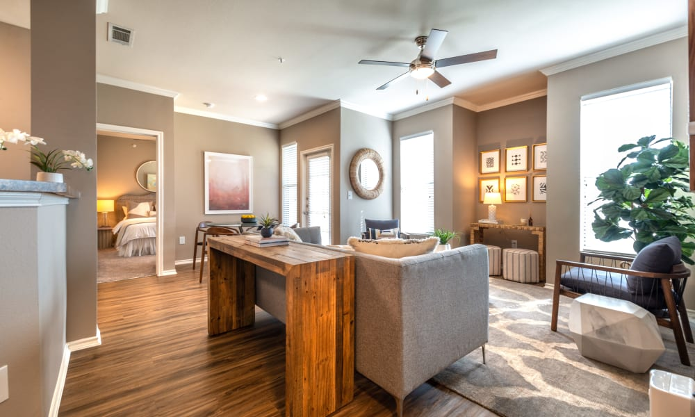 Spacious and well decorated Living Room at Apartments in Benbrook, Texas