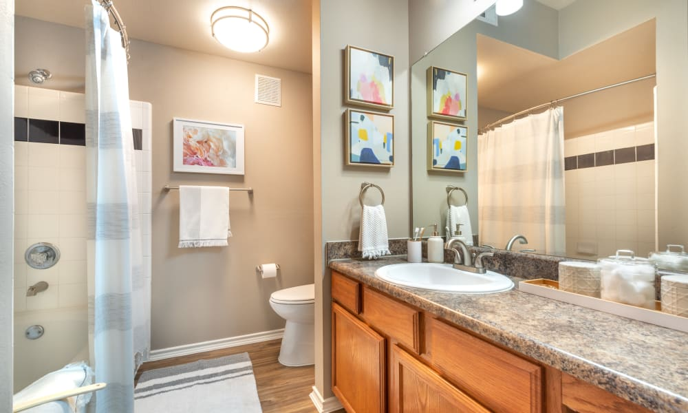 Bathroom with shower, bathtub and solid counters at Olympus Team Ranch in Benbrook, Texas