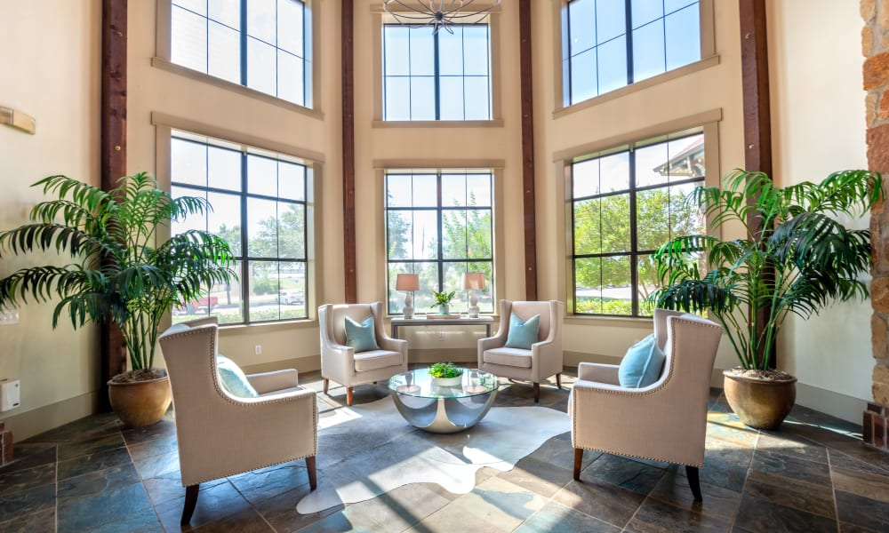 Seating area in Clubhouse at Olympus Team Ranch in Benbrook, Texas