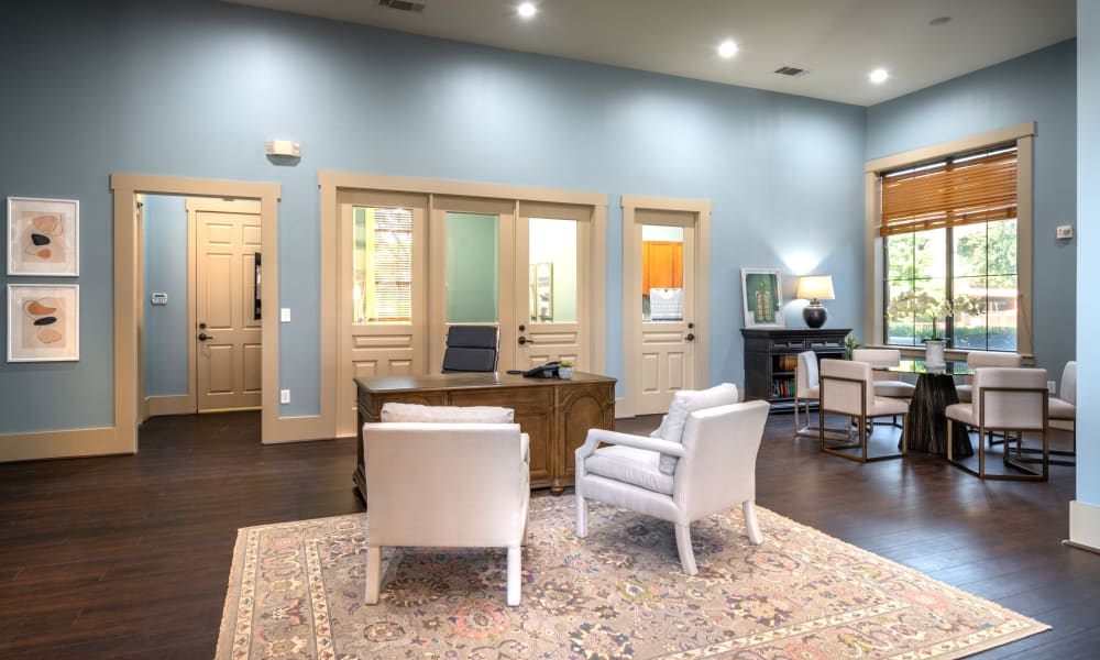 Leasing office interior at Olympus Team Ranch in Benbrook, Texas