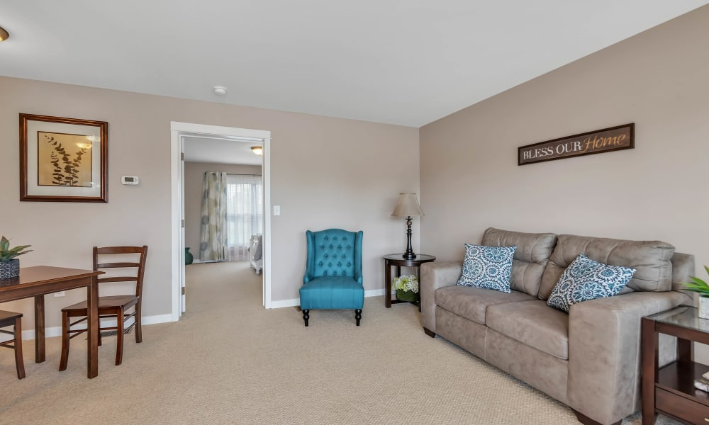 Spacious living room at Landings of Oregon in Oregon, Ohio