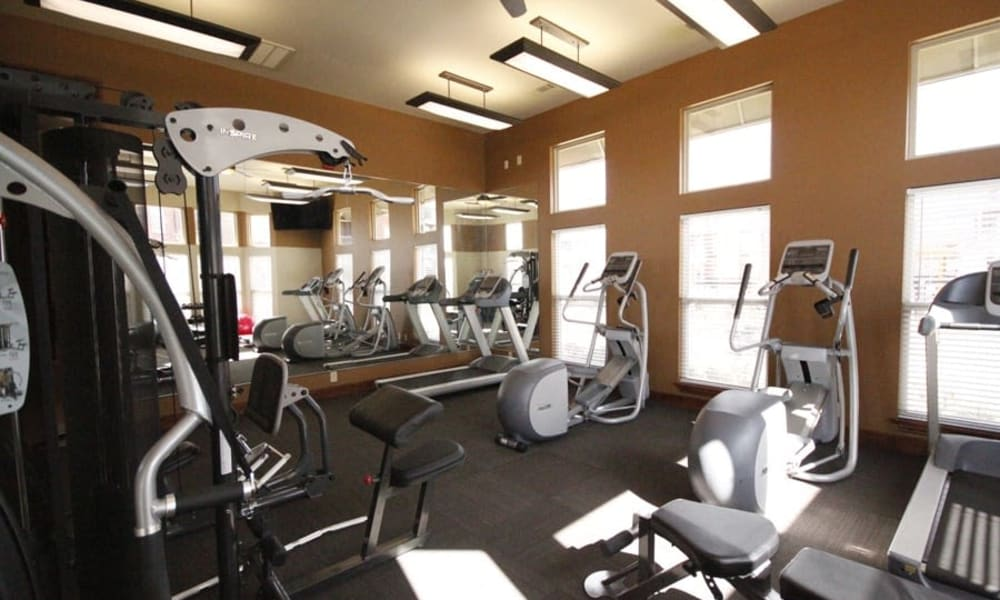 Fully equipped fitness center for residents at The Park on Westpointe in Yukon, Oklahoma