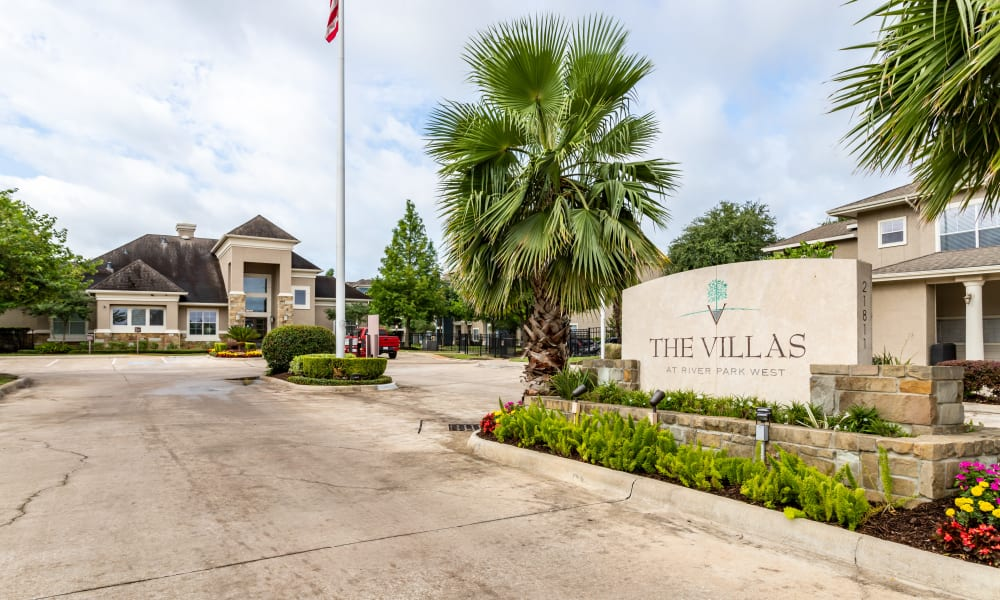 Sign at The Villas at River Park West in Richmond, Texas