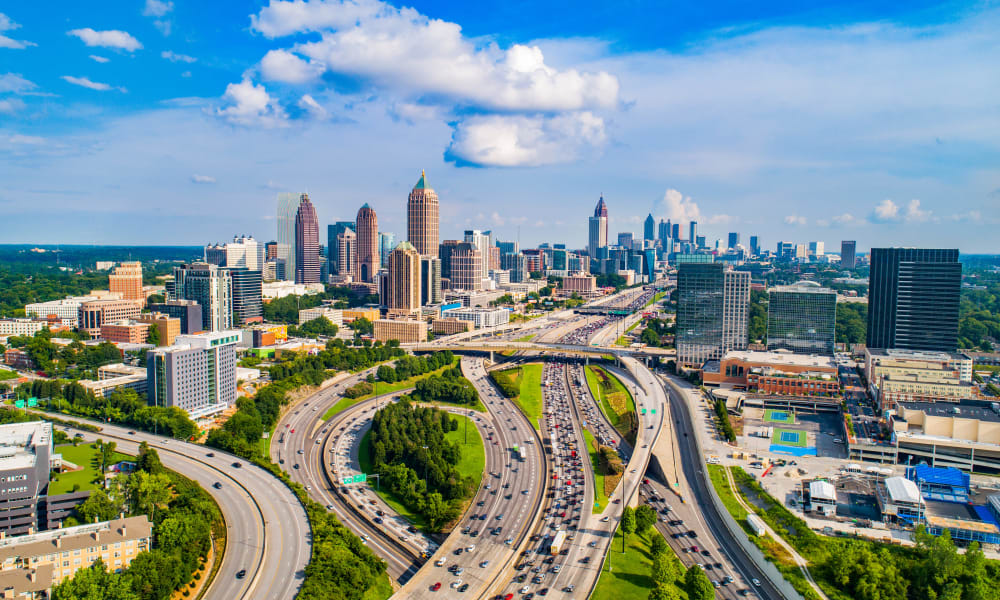 The city scape near The Westlight Apartments in Atlanta, Georgia