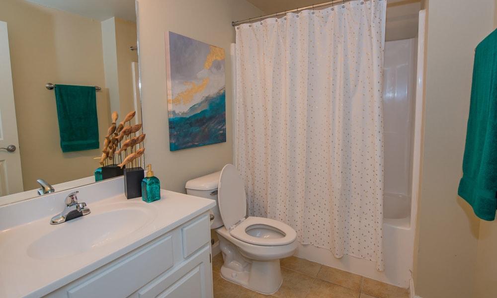 An apartment bathroom at Lexington Park Apartment Homes in North Little Rock, Arkansas