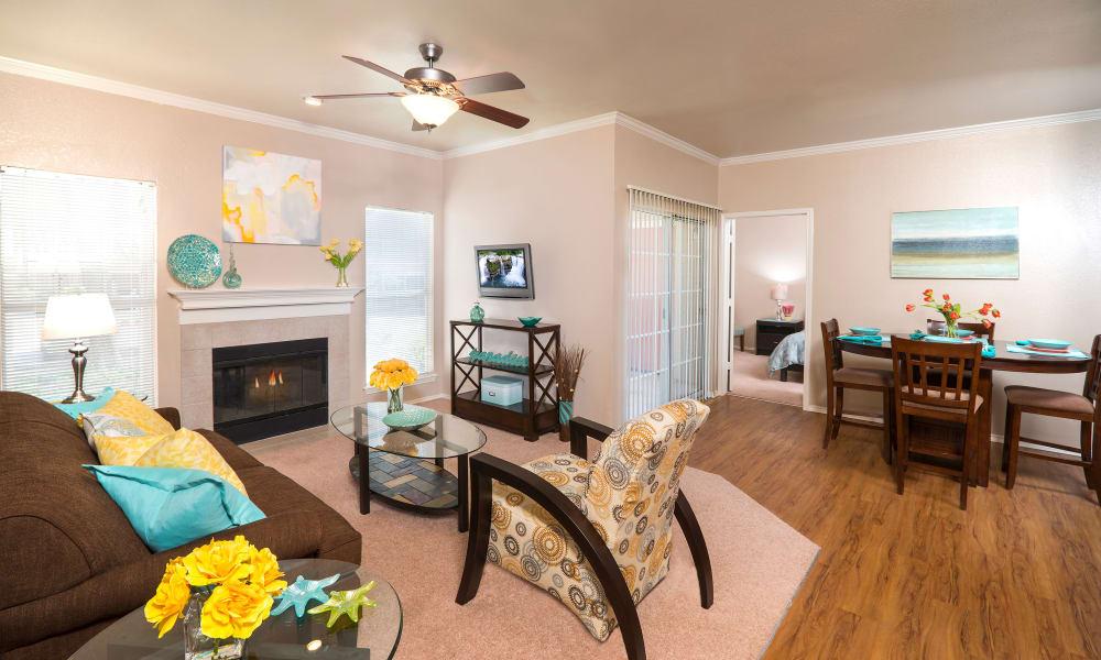 Dining and living room at Rancho Palisades in Dallas, TX
