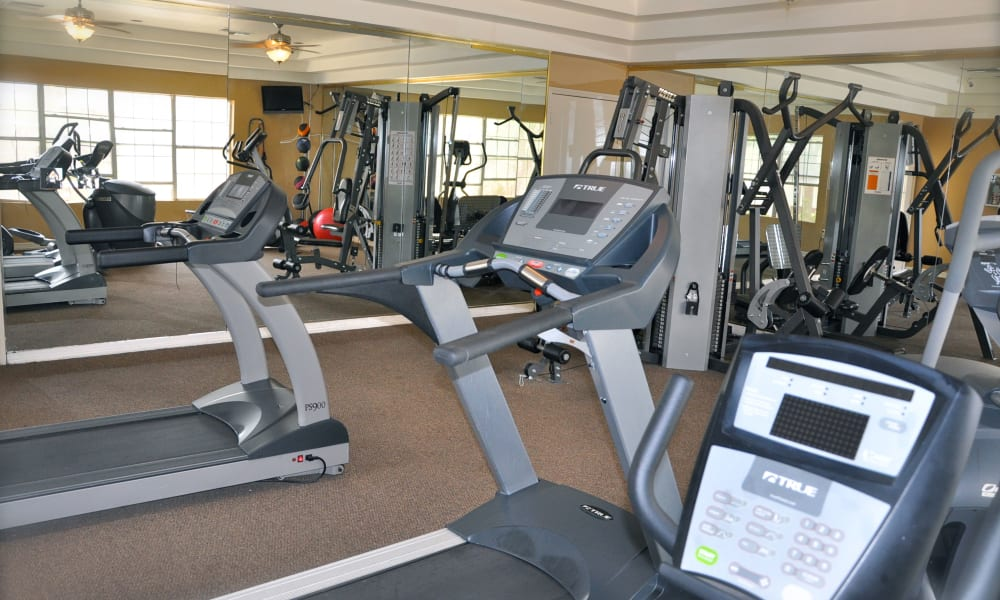 A community fitness center at The Crest Apartments in El Paso, Texas