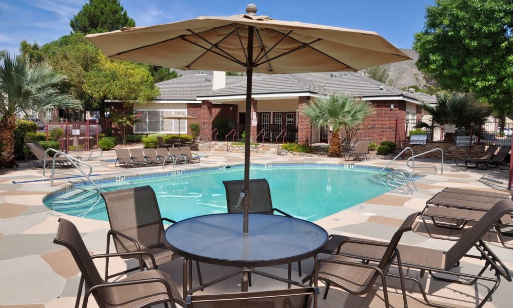 A large community pool at The Crest Apartments in El Paso, Texas