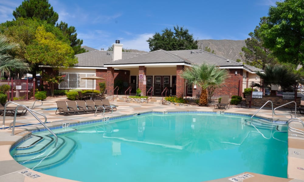 A community pool at The Crest Apartments in El Paso, Texas