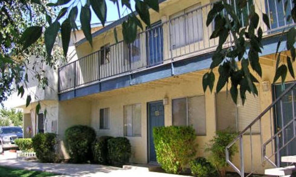 Front of some units at El Potrero Apartments in Bakersfield, California