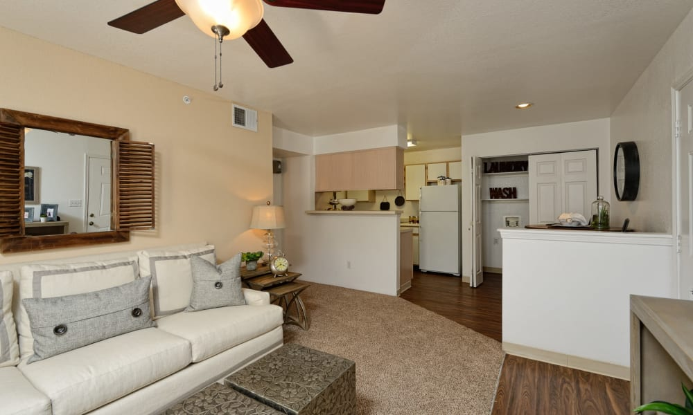 An apartment living room at The Patriot Apartments in El Paso, Texas