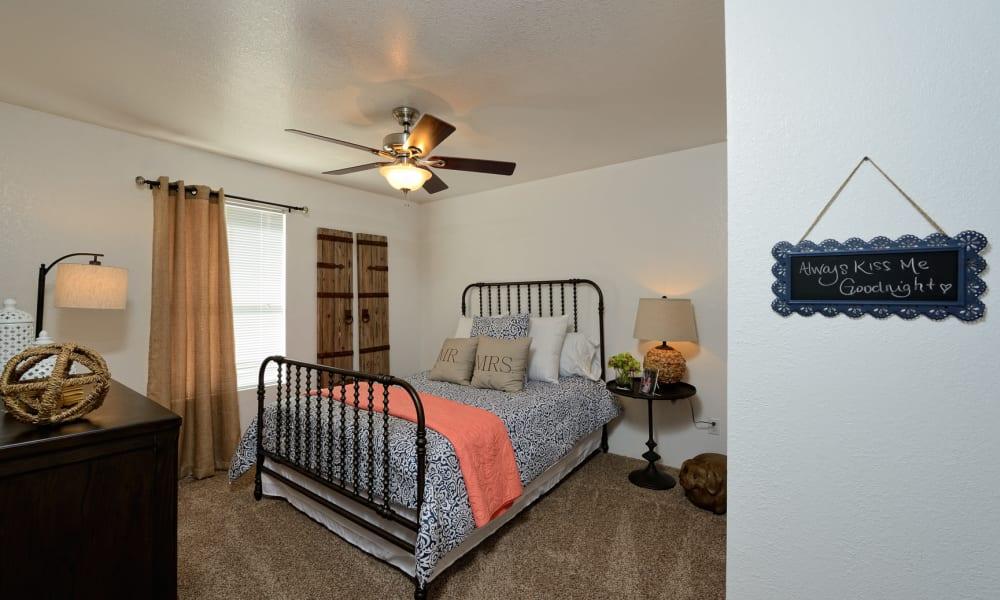 An apartment bedroom at The Patriot Apartments in El Paso, Texas