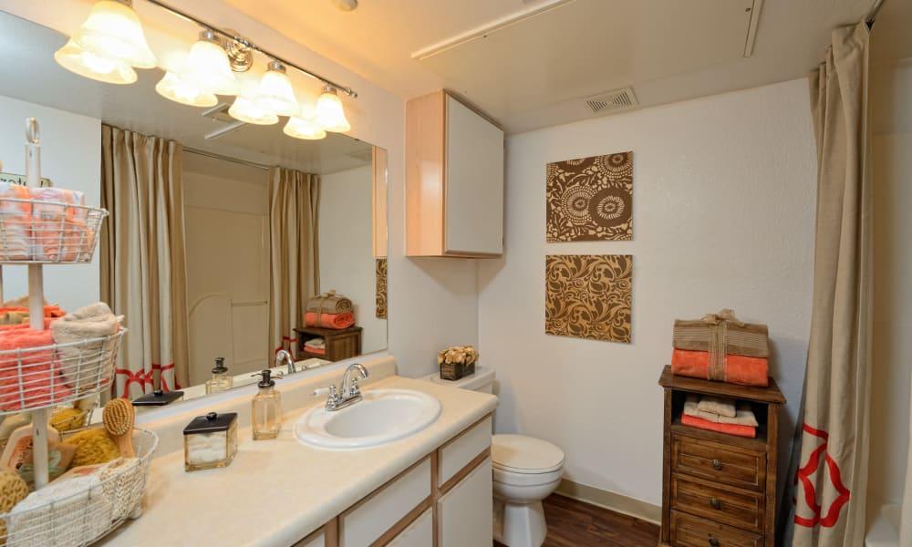 An apartment bathroom at The Patriot Apartments in El Paso, Texas