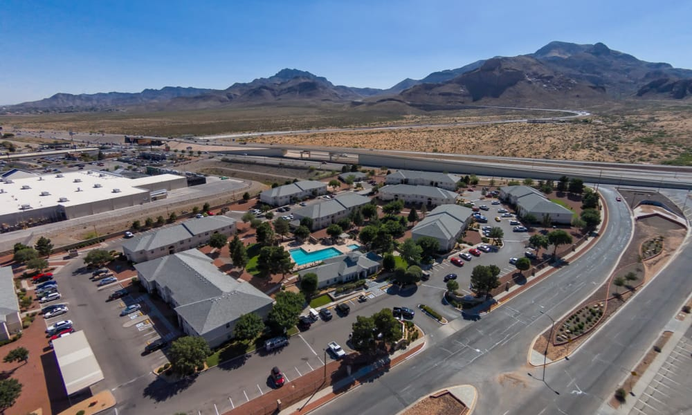 An arial view of the property at The Patriot Apartments in El Paso, Texas