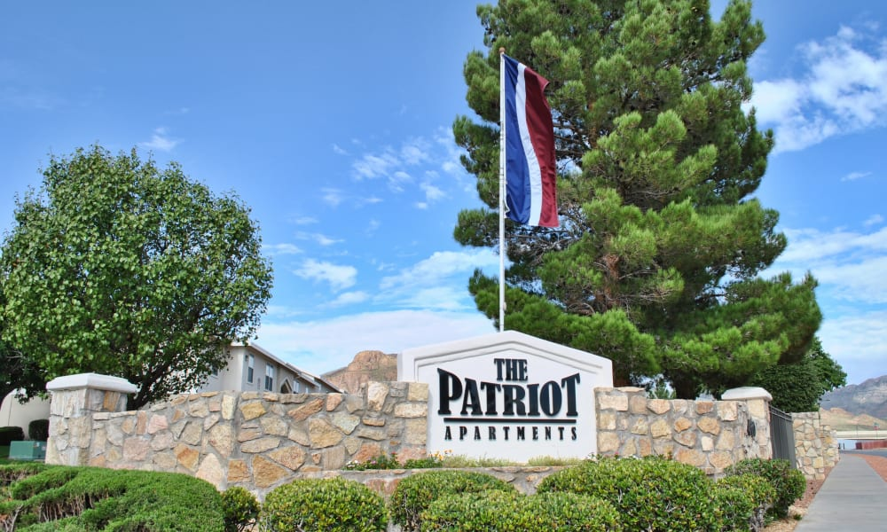 The sign in front of The Patriot Apartments in El Paso, Texas