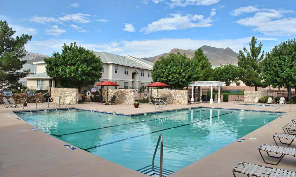 The community pool at The Patriot Apartments in El Paso, Texas