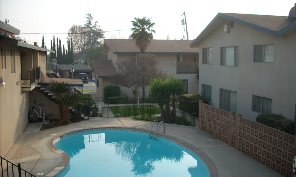 Pool view from a resident unit at Highland View Court in Bakersfield, California