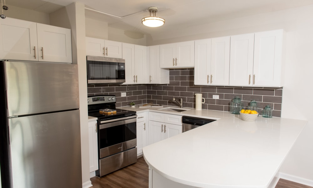 Kitchen with stainless steel appliances at Mandalane Apartments in Wheeling, Illinois