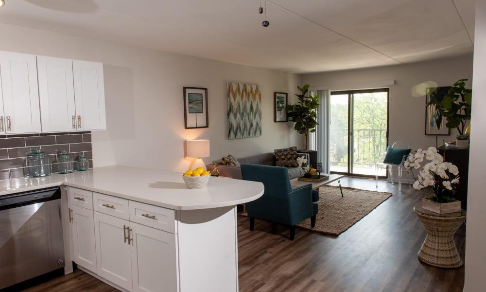 Open, spacious floor plan at Mandalane Apartments in Wheeling, Illinois
