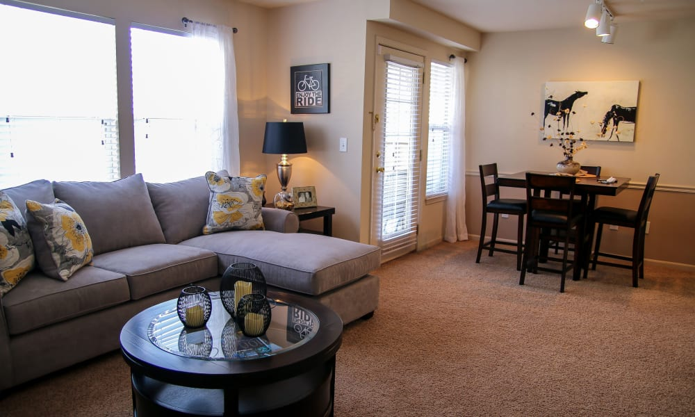 An apartment's open floor plan at Winchester Apartments in Amarillo, TX