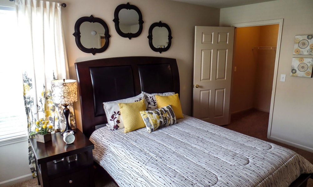 An apartment bedroom at Winchester Apartments in Amarillo, TX