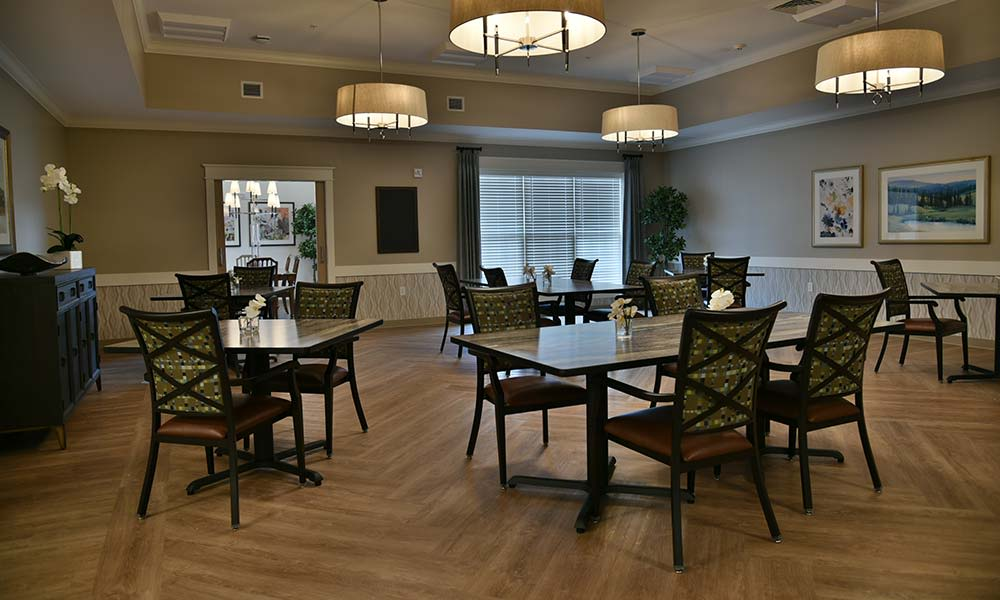 One of two dining rooms at Grand Plains in Pratt, Kansas