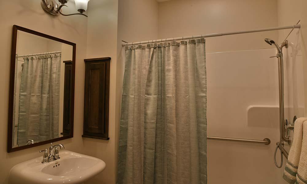 Home style resident bathroom at Grand Plains in Pratt, Kansas