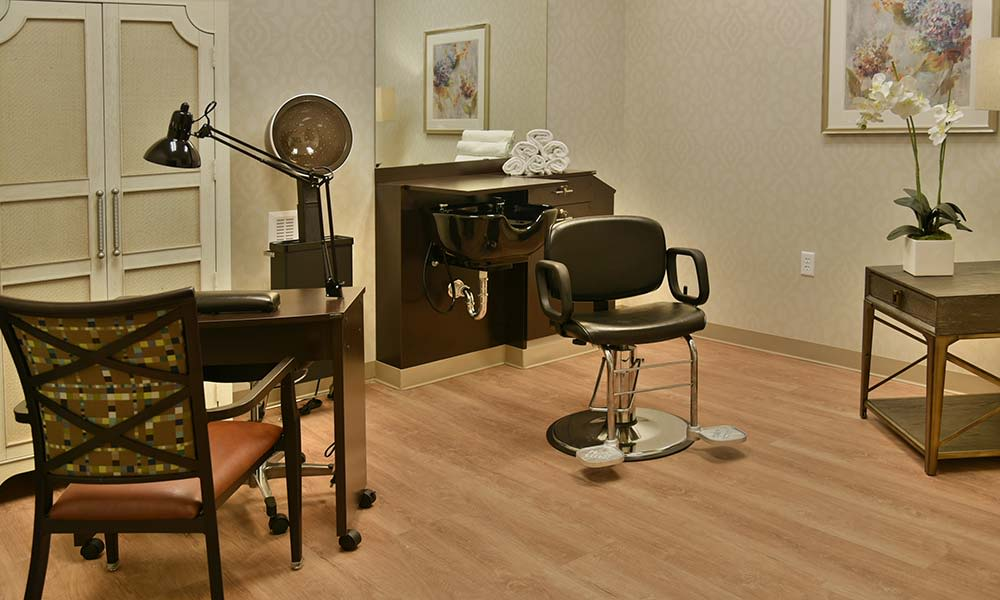 In house beauty and barber salon at Grand Plains in Pratt, Kansas
