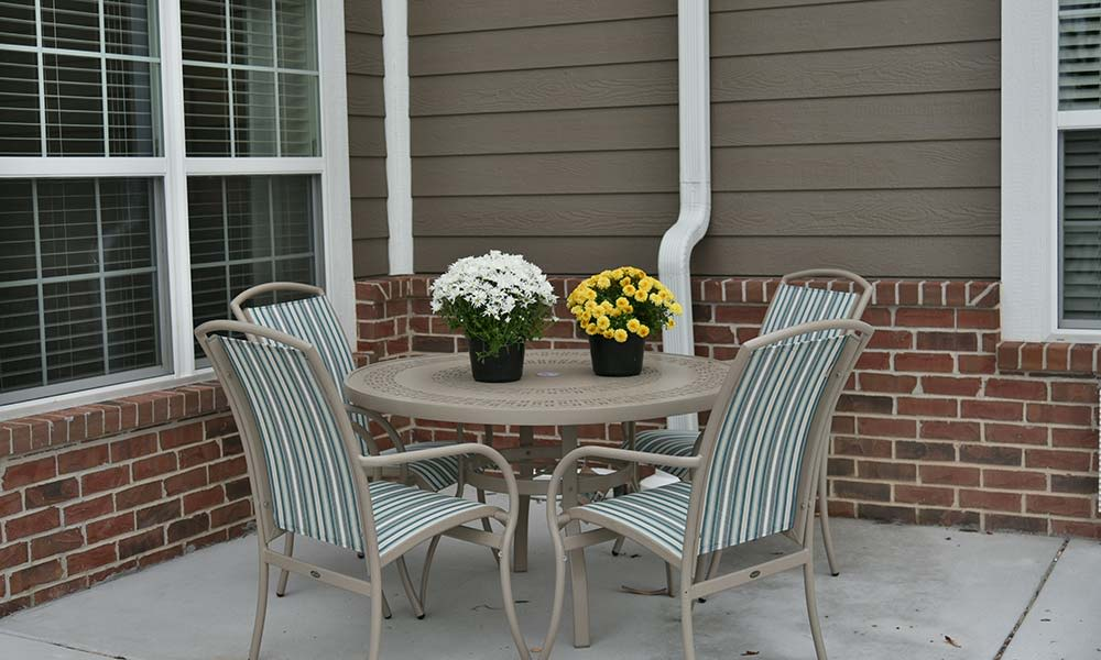Patio seating at One of two living rooms at Grand Plains in Pratt, Kansas