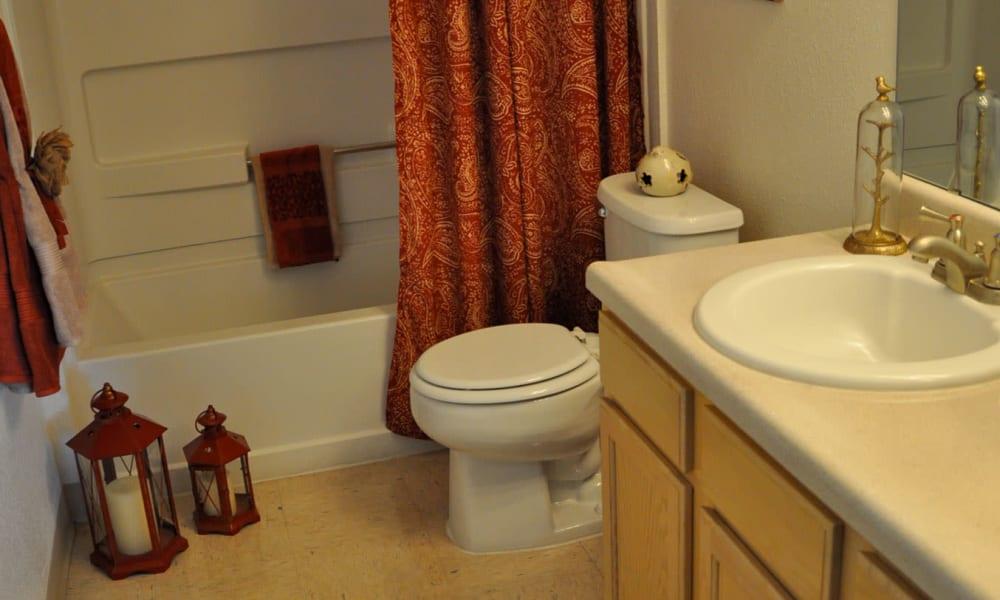 An apartment bathroom at The Phoenix Apartments in El Paso, TX